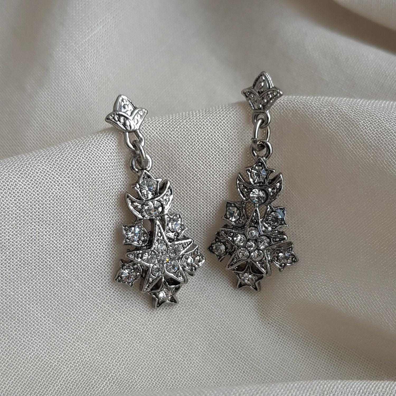 Винтаж: Серьги 1928 Jewelry «Кристальные снежинки», Серьги винтажные, Москва,  Фото №1