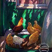 """Картины и панно ручной работы. Ярмарка Мастеров - ручная работа Картина """"Южный дворик""""  Петух и курицы.. Handmade."""