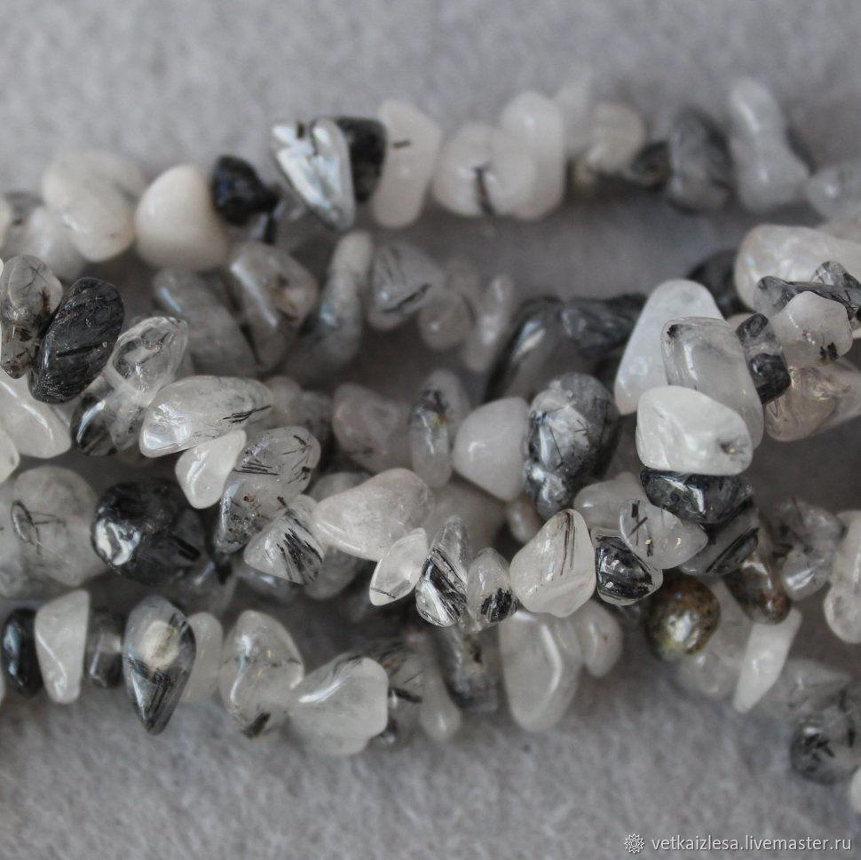 Кварц-волосатик, каменная крошка, нити по 20 см (натуральный камень)