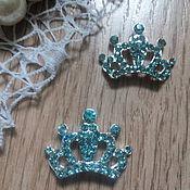 Материалы для творчества handmade. Livemaster - original item !Scrapbooking. Decor-the buckle,brooch with rhinestones, Crown aquamarine. Handmade.