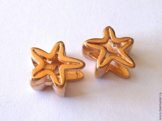 Для украшений ручной работы. Ярмарка Мастеров - ручная работа. Купить РОЗВОЕ ЗОЛОТО  Бусина для Regaliz морская звезда. Handmade.