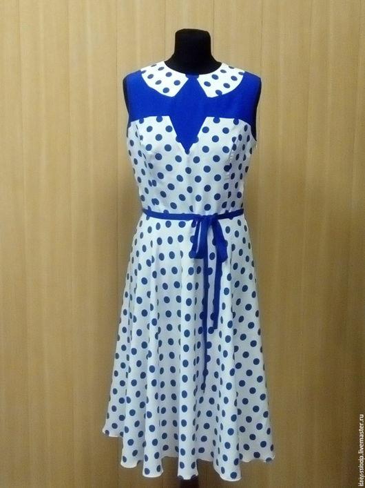 """Платья ручной работы. Ярмарка Мастеров - ручная работа. Купить Ретро-платье в горошек """"Синее на белом!. Handmade. Белый"""