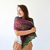 Аксессуары handmade. Livemaster - original item Stole wool knitted openwork scarf warm burgundy emerald. Handmade.