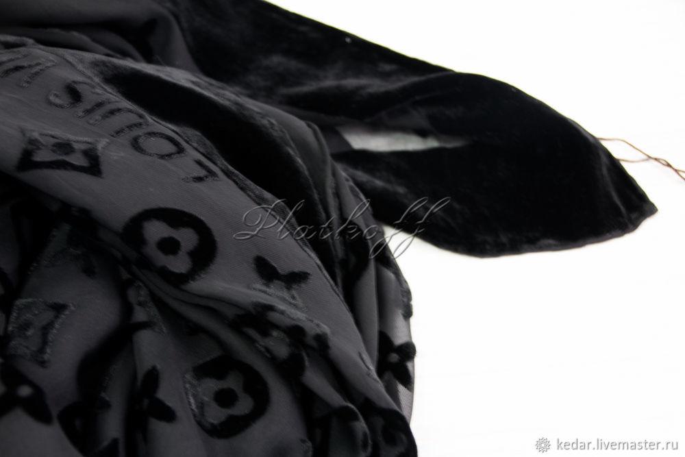 Handkerchief square black ' Monogram luxury', Shawls1, Moscow,  Фото №1