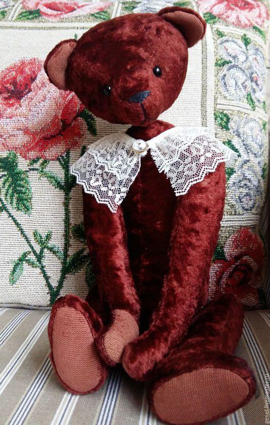 Мишки Тедди ручной работы. Ярмарка Мастеров - ручная работа. Купить Лиза мишка-девочка. Handmade. Бордовый
