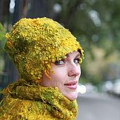 """Шапки ручной работы. Ярмарка Мастеров - ручная работа Валяный комплект """"Кудрявый. Зелено-желтый"""". Handmade."""