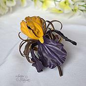 Украшения ручной работы. Ярмарка Мастеров - ручная работа Ирис из кожи. Брошь цветок. Handmade.