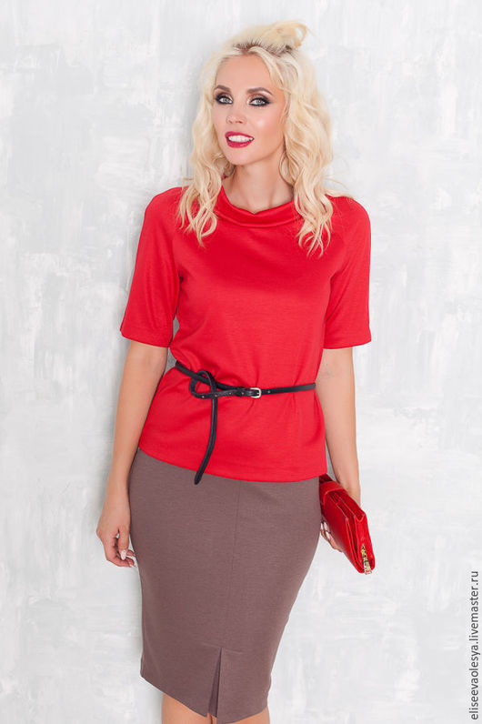 Блузки ручной работы. Ярмарка Мастеров - ручная работа. Купить Блуза из трикотажа красная 24054. Handmade. Комбинированный, осень 2016