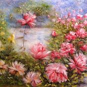 Картины и панно handmade. Livemaster - original item Picture of wool Rose Garden. Handmade.