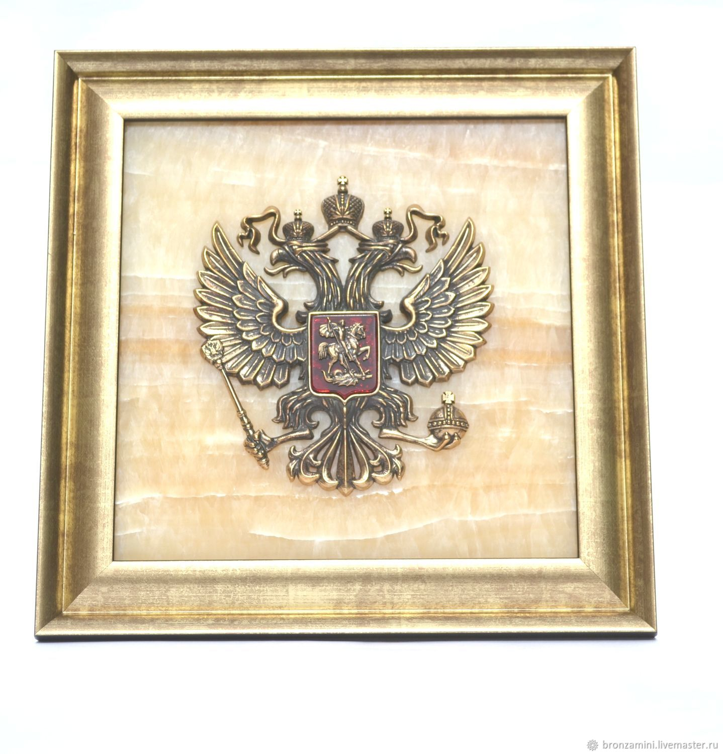 Coat of arms of the Russian Federation (panel) handmade, onyx, casting, gift, Pictures, Kislovodsk,  Фото №1