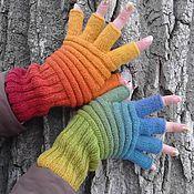 Аксессуары handmade. Livemaster - original item Fingerless gloves with Rainbow fingers. Handmade.