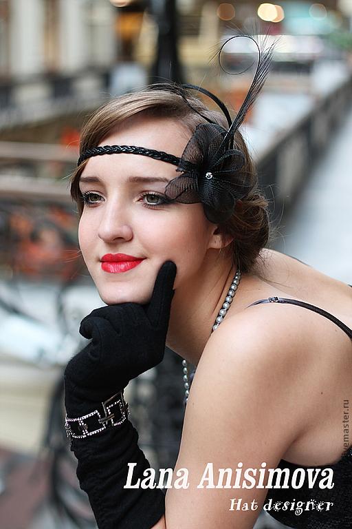 Шляпы ручной работы. Ярмарка Мастеров - ручная работа. Купить Украшение на голову в стиле 30-х. Гетсби. Handmade. Черный