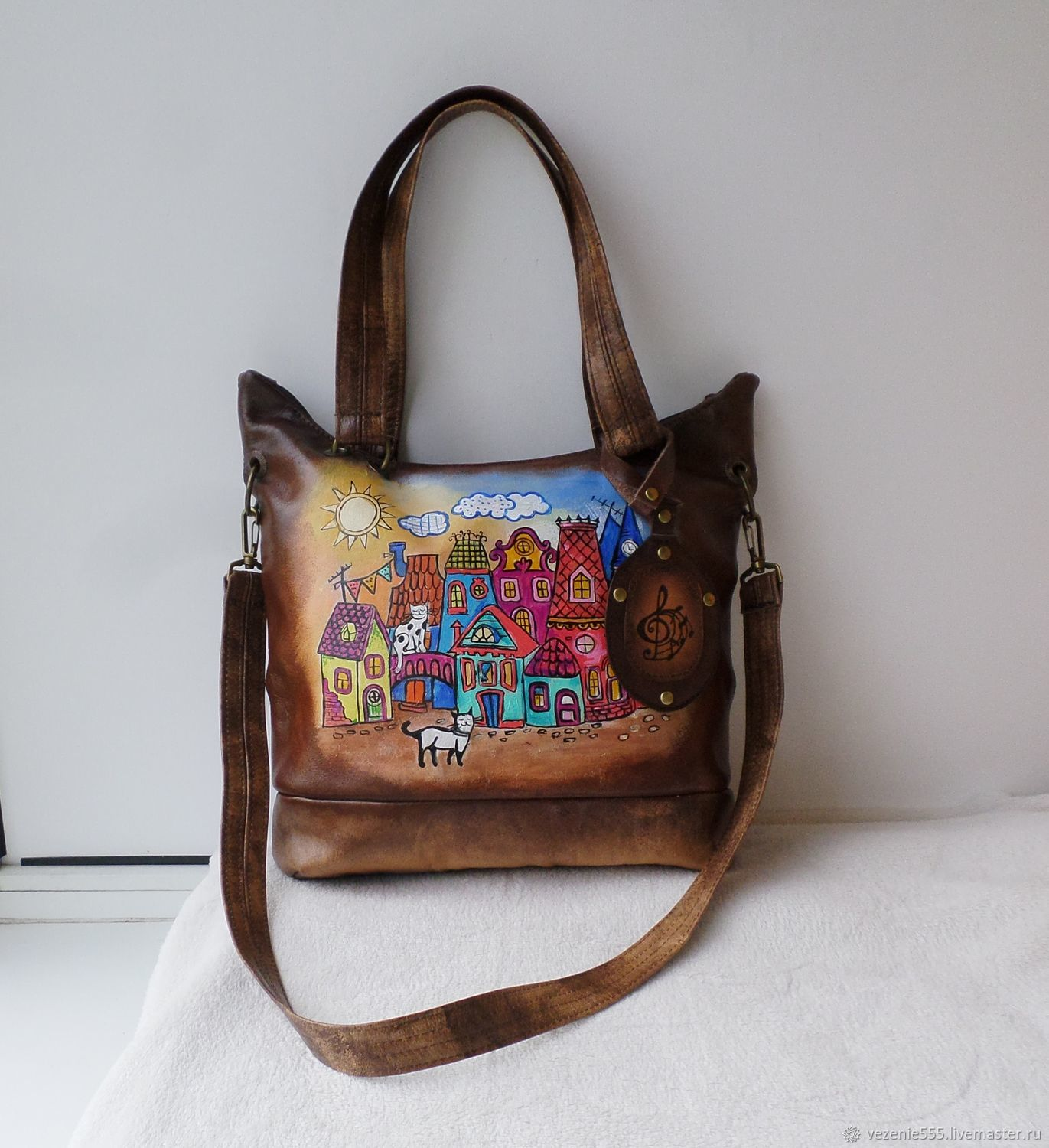 Leather bag hand painted, Classic Bag, Noginsk,  Фото №1