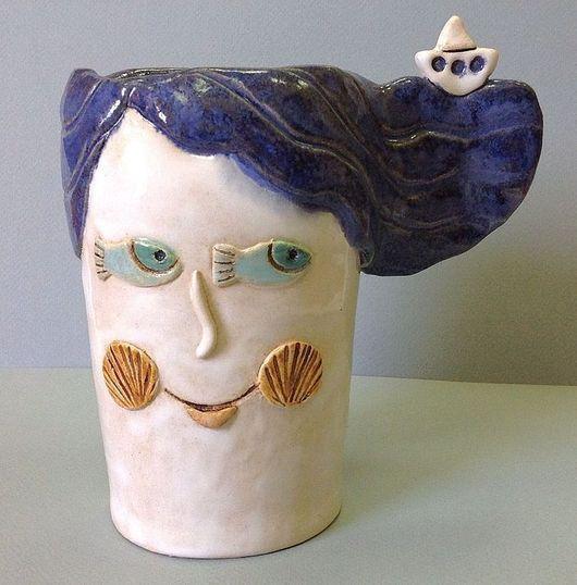Вазы ручной работы. Ярмарка Мастеров - ручная работа. Купить Ваза керамическая Морская Дева. Handmade. Синий, море, локоны