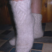 Аксессуары handmade. Livemaster - original item Women`s knitted socks Snowy paths. Handmade.