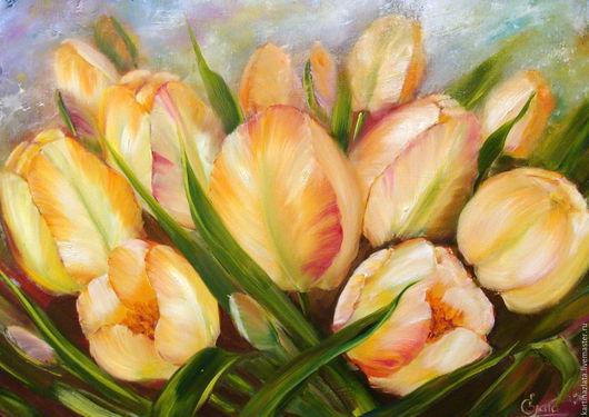 Желтые тюльпаны. Масло, холст, ручная работа
