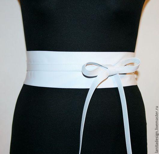 Пояса, ремни, браслеты ручной работы. Пояс-кушак из кожи `White`. Lanita Design. Ярмарка Мастеров. Ручная работа. Handmade.