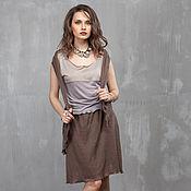 Одежда handmade. Livemaster - original item п_007 skirt with pockets, color coffee. Handmade.