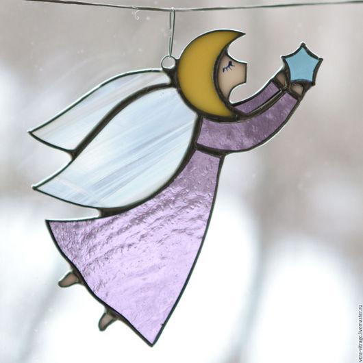 Элементы интерьера ручной работы. Ярмарка Мастеров - ручная работа. Купить Волшебный ангел,исполняющий желания:)  витраж для интерьера. Handmade.