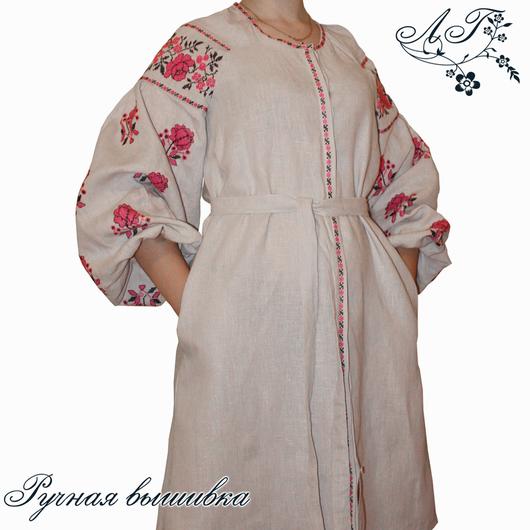 Платья ручной работы. Ярмарка Мастеров - ручная работа. Купить Льняное платье рубашка с ручной вышивкой Серый лен. Handmade.