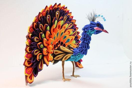 """Статуэтки ручной работы. Ярмарка Мастеров - ручная работа. Купить """"Павлин - солнечная птица"""". Handmade. Интерьер, интерьерная игрушка, бусины"""