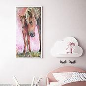 Картины и панно handmade. Livemaster - original item Mother horse and foal, oil painting on canvas, in the nursery. Handmade.
