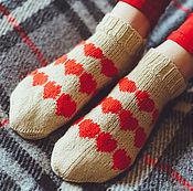 Носки ручной работы. Ярмарка Мастеров - ручная работа Короткие шерстяные носки с сердечками для любимых. Handmade.