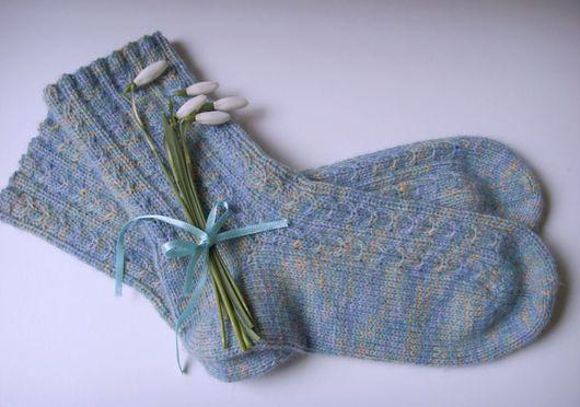 """Носки, Чулки ручной работы. Ярмарка Мастеров - ручная работа. Купить Носочки """"Март"""". Handmade. Голубой, носки ручной работы"""