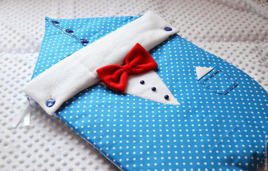 """Для новорожденных, ручной работы. Ярмарка Мастеров - ручная работа. Купить Конверт на выписку """"Джентльмен"""". Handmade. Голубой, конверт для новорожденных"""