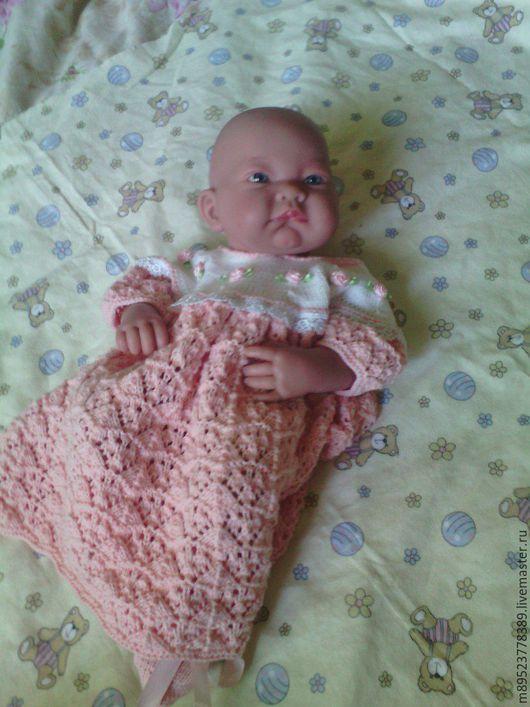 Для новорожденных, ручной работы. Ярмарка Мастеров - ручная работа. Купить платье и пинетки для малышки. Handmade. Кремовый, для малышки