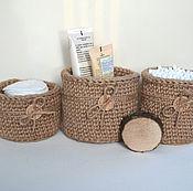 Для дома и интерьера ручной работы. Ярмарка Мастеров - ручная работа Набор джутовых корзинок для ванной. Handmade.