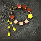 Украшения handmade. Livemaster - original item Bracelet Accent of carnelian and jade. Handmade.