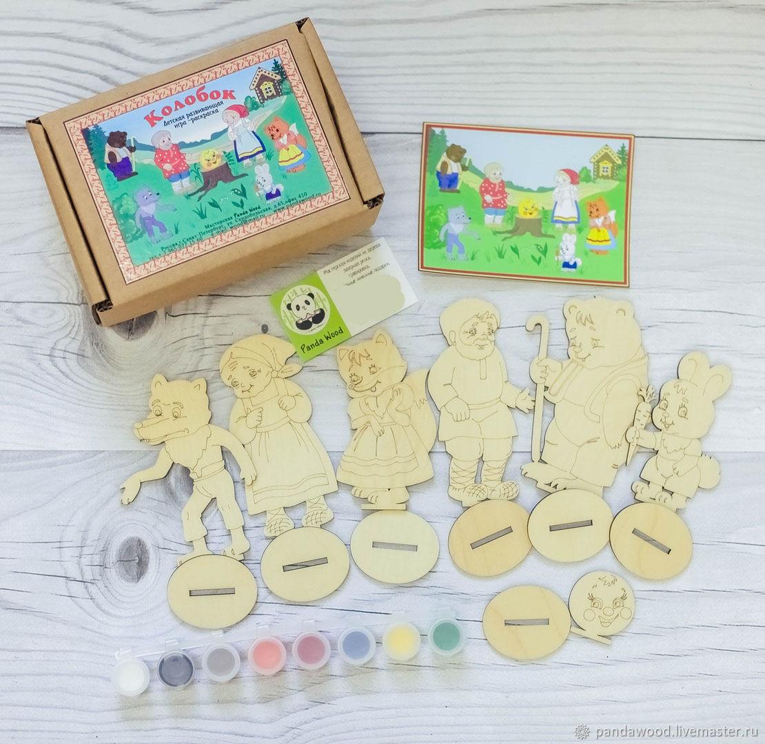 детский набор раскраска из дерева колобок краски и кисточка купить на ярмарке мастеров Gbajlru игрушки санкт петербург