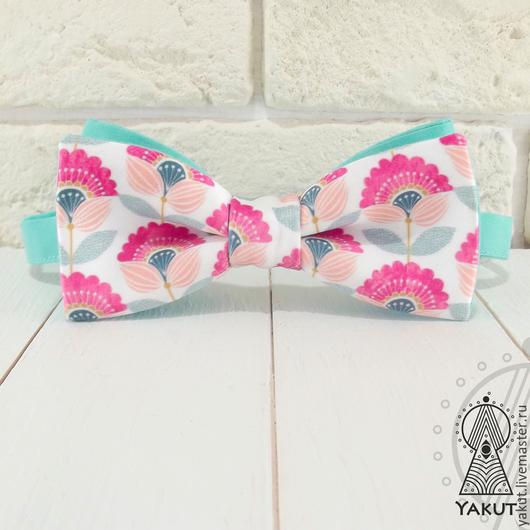 Галстуки, бабочки ручной работы. Ярмарка Мастеров - ручная работа. Купить Галстук бабочка Цветы Тильды атлас / бабочка-галстук. Handmade.