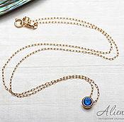 Украшения handmade. Livemaster - original item Thin necklace chain with blue zircon