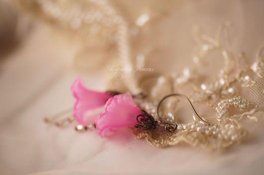 """Серьги ручной работы. Ярмарка Мастеров - ручная работа. Купить Серьги """"Волшебные цветы"""" Темно-розовый. Handmade. Фуксия"""