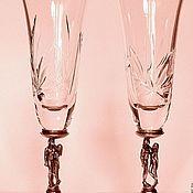 """Свадебный салон ручной работы. Ярмарка Мастеров - ручная работа Свадебные  бокалы,фужеры  """"ДВОЕ"""" из хрусталя на бронзовой вставке. Handmade."""