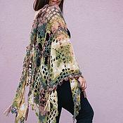 Аксессуары handmade. Livemaster - original item Crochet shawl melange brown-green-yellow. Handmade.
