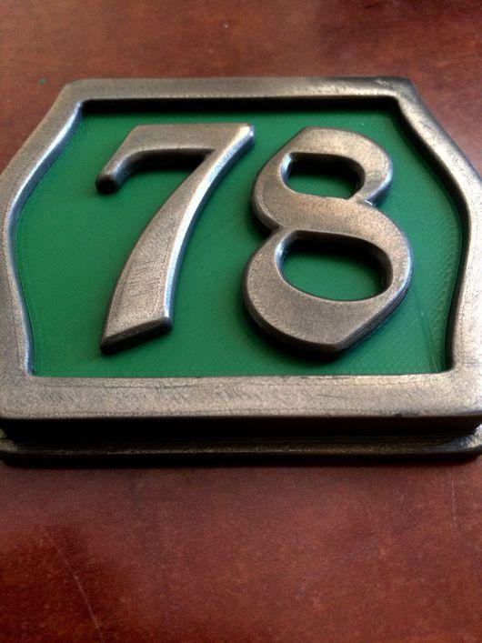 """Элементы интерьера ручной работы. Ярмарка Мастеров - ручная работа. Купить Табличка с номером (2-е цифры), """"бронза"""", зелёная. Handmade."""