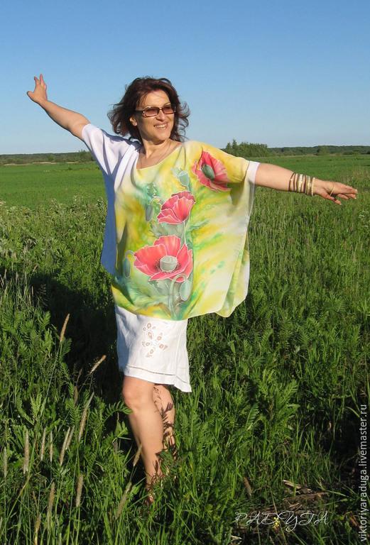 """Пляжные туники ручной работы. Ярмарка Мастеров - ручная работа. Купить Авторская блуза-туника """"Маки""""2 - батик. Handmade. Разноцветный"""