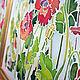 Пейзаж ручной работы. Батик Маки. Анжелика Зингер. Интернет-магазин Ярмарка Мастеров. Маки, луч, картина, краски по ткани