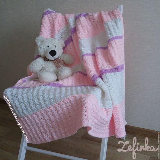 Пледы и одеяла ручной работы. Ярмарка Мастеров - ручная работа. Купить Вязаное одеялко. Handmade. Бледно-розовый, плед для новорожденного