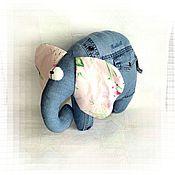 Для дома и интерьера ручной работы. Ярмарка Мастеров - ручная работа Джинсовый Слон подушка. Handmade.