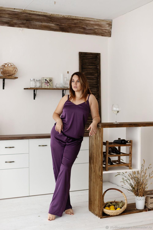 Шелковый пижамный комплект с брюками и майкой с кружевом, Пижамы, Чебоксары,  Фото №1