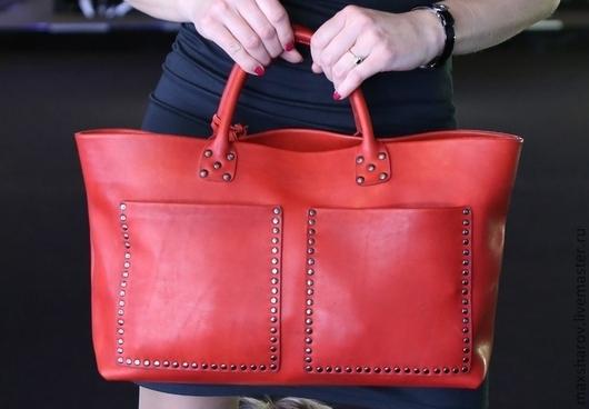 Женские сумки ручной работы. Ярмарка Мастеров - ручная работа. Купить Кожаная сумка ручной работы № 097 red, авторская сумка. Handmade.
