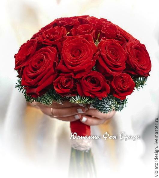 Свадебные цветы ручной работы. Ярмарка Мастеров - ручная работа. Купить зимний свадебный букет для невесты. Handmade. Ярко-красный