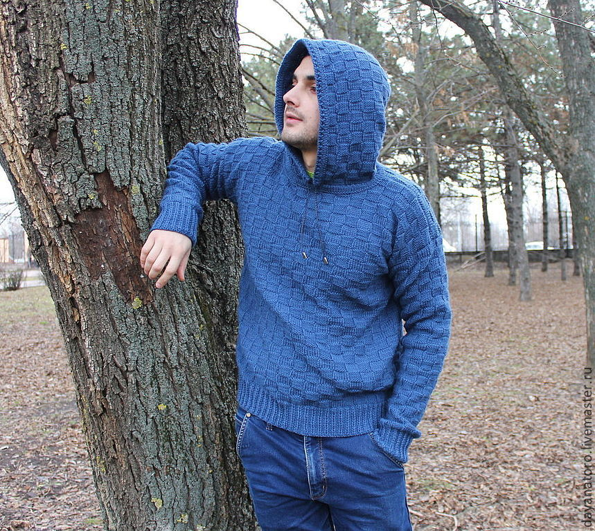 Mens Hand Knitted Sweater Di Caprio Indigo Shop Online On
