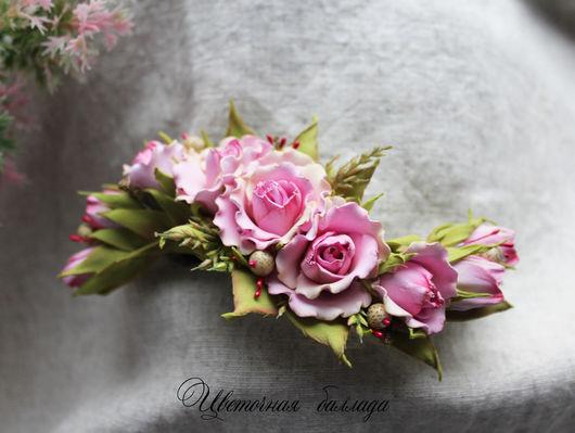 """Заколки ручной работы. Ярмарка Мастеров - ручная работа. Купить """"Семя лотоса"""" заколка для волос. Handmade. Розовый, заколка с розами"""