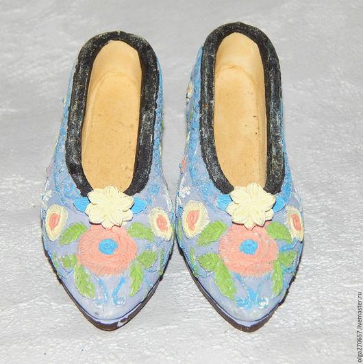 Винтажные предметы интерьера. Ярмарка Мастеров - ручная работа. Купить Винтажная коллекционная туфелька. Handmade. Сиреневый, обувь коллекционная