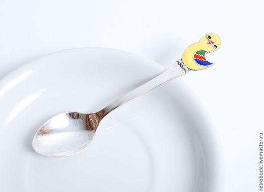 Винтажная посуда. Ярмарка Мастеров - ручная работа. Купить Ложка чайная детская серебро с эмалью, эмаль 925 винтаж. Handmade.